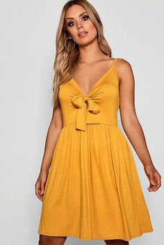 Womens Plus Strappy Knot Front Swing Dress - yellow - 22 Robe Swing, Swing Dress, Dress Outfits, Dress Up, Bodycon Dress, Knot Dress, Maxis, Belle Silhouette, Plus Size Party Dresses