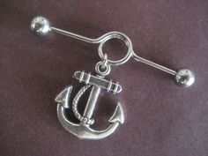 Chunky Anchor Industral Piercing Bar- 14 Gauge Surgical Steel Barbell. $12.00, via Etsy.