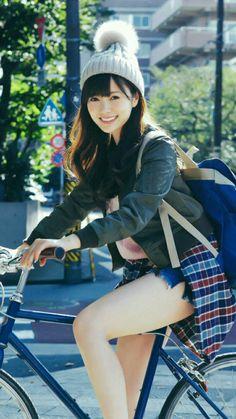 Best 12 Shiraishi Mai ☓ Tokyobike – Page 386676317999433473 School Girl Japan, Japan Girl, Beautiful Japanese Girl, Beautiful Asian Girls, Cute Asian Girls, Cute Girls, Kawai Japan, Female Cyclist, Cycle Chic