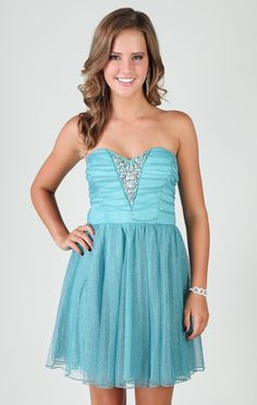 strapless sweetheart dress with glitter mesh and chunky stone detail