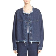 Marques'Almeida Collarless Denim Jacket (€235) ❤ liked on Polyvore featuring outerwear, jackets, indigo, denim jacket, blue denim jacket, long jean jacket, jean jacket and cropped moto jacket