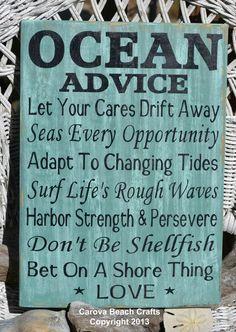 Beach Wedding Sign  Beach Decor  Beach House  Ocean Advice Hand Painted Wood Sign by CarovaBeachCrafts,