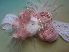 Shabby Chic Headband Pale Pink and White by AldonasBoutique,