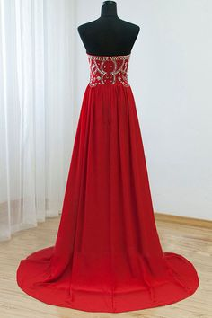 Red Beaded Prom Dress With Stones Strapless Prom Dresses on Storenvy Prom Dresses Under 200, Strapless Prom Dresses, Prom Dresses For Teens, Beaded Prom Dress, Beaded Chiffon, A Line Prom Dresses, Homecoming Dresses, Evening Dresses, Graduation Dresses