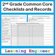 """I took the 2nd Grade Common Core State Standards and turned them into student and teacher friendly """"I can"""" statements. I used those to create these records. I made two types of records. One for tracking an individual student's progress and one for teachers to track when they have taught/reviewed each standard. There are records for each content area: Reading, Writing, Language, Speaking Listening, and Math. I use the checklists as a quick reference for my whole class. $ #2ndGradeCommonCore"""
