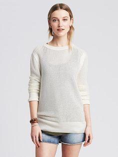 Mesh Cutout-Back Pullover