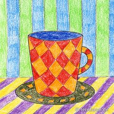 Kaffeetassen-Inchie Coasters, 3d, Colored Paper, Coffee Cups, Diy Home Crafts, Primary School, To Draw, Kunst, Class Room