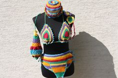 Bademode - Bikini Mütze Beutel Zehen Sandalen bunt - ein Designerstück von trixies-zauberhafte-Welten bei DaWanda