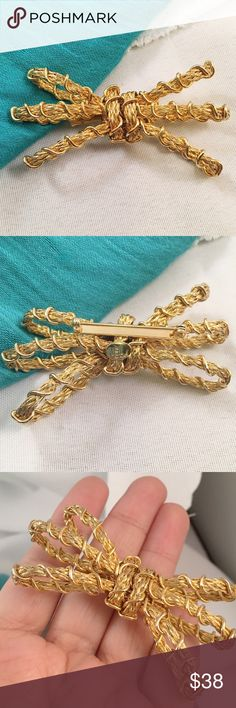 """VINTAGE HOBE Bow Brooch Pristine condition. Hallmarked HOBE. Approx 3"""" across. Vintage Jewelry Brooches"""