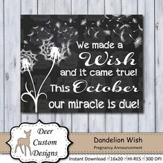 Dandelion Wish Chalkboard Pregnancy Announcement Photo Prop pregnancyannouncementtoparents October Pregnancy Announcement, New Baby Announcements, Chalkboard Pregnancy, Pregnancy Signs, Baby Reveal Photos, Expecting Photos, Printable Poster, January Baby, November