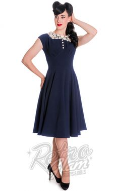 Retro Glam - Hell Bunny Emilie Dress in Navy - 3XL left