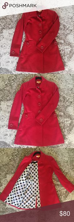 Anthropology - Red wool blend peacoat condition: excellent  worn only a few times signs of wear: none Fits: true to size Material: wool blend  Brand: tulle, purchased from anthropology ❤️ Make me an offer Bundles welcome No trades Ask any questions you might have, happy to help! Tulle Jackets & Coats Pea Coats