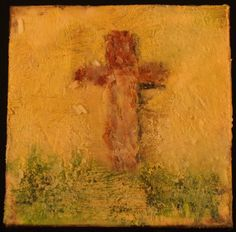 Copper Cross Handmade Encaustic Painting One of by CindysCoasters