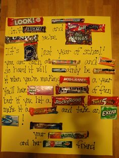 candy bar poster. Cute idea