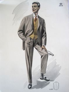 Vintage French Fabulous 1956 Mens Fashion Print From a Men's Outfitters Catalogue by VintageFrenchFinds, $22.00