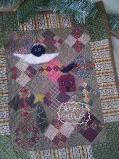 Primitive pieced and applique w/ stitching mini-quilt
