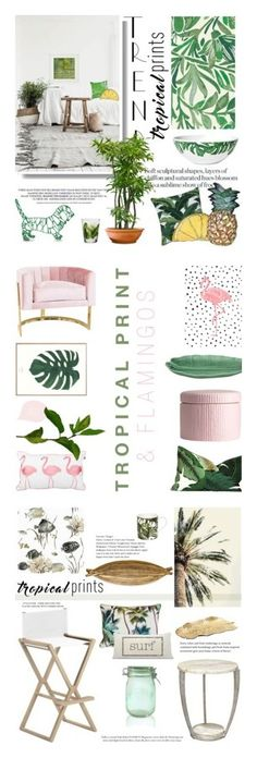 """""""Winners for Tropical Prints"""" by polyvore ❤ liked on Polyvore featuring interior, interiors, interior design, home, home decor, interior decorating, WALL, Dermond Peterson, Silken Favours and Crate and Barrel"""