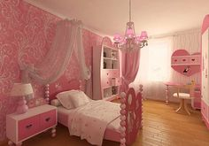 Pink Girls Bedroom Ideas with Pink Bedroom Furniture and Wallpaper Decoration