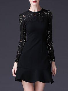 Shop Mini Dresses - Black Crew Neck Flounce Long Sleeve Mini Dress online. Discover unique designers fashion at StyleWe.com.