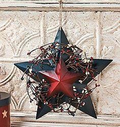 Primitive Country Americana Metal Barn Star Pip Berry Patriotic Wall Door Hang | eBay
