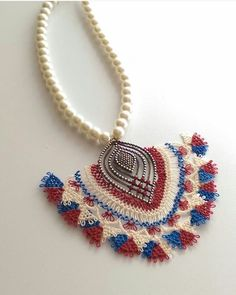 Lace Jewelry, Jewelery, Handmade Jewelry, Needle Lace, Lace Making, Textiles, Needlework, Diy And Crafts, Crochet Necklace