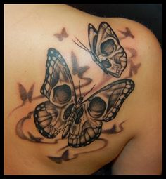 Pretty Skull and Butterflies | Butterfly Girl Tattoo Designs| Butterfly Girl Skull Tattoos