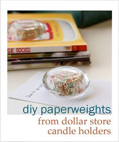 DIY paperweights from glass candle holders. - Mod Podge Rocks