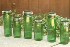 FINAL SALE  6 Vintage Green Glass Canisters by vintageatmosphere