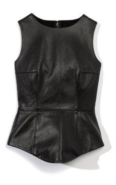 Tibi Leather Peplum Top at Moda Operandi by maureen