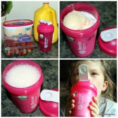 Making homemade smoothies with Blender Bottle - (kids love them). You can use yogurt to thicken the drink, low-fat ice cream, fruit puree's etc.