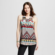 Women's Aztec Printed Tank Top Black/ Hibiscus/ White