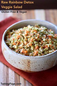 Start the new year with this healthy raw rainbow detox veggie salad. It's gluten free and vegan | http://TastingPage.com