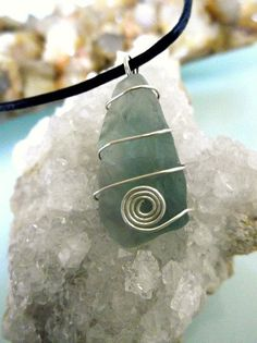 Rough Green Fluorite Point Necklace  Silver Wire