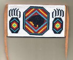 Bear Checkbook Cover Loom Beadwork Pattern Native American Indian Design via Etsy