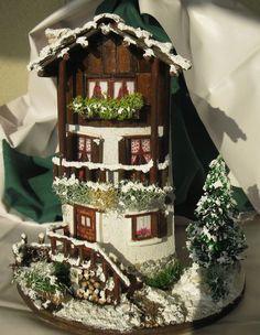 De Todo, Un Poco .: Tejas decoradas Christmas Deco, Winter Christmas, Clay Flower Pots, Polymer Clay Christmas, Tile Crafts, Clay Houses, Play Clay, Clay Tiles, Fairy Garden Houses