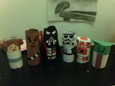 I made the Star Wars cast from toilet paper rolls and construction paper!!!