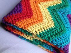 Rainbow ripple crochet afghan. Crib blanket. by SmilingBabyBee, $85.00