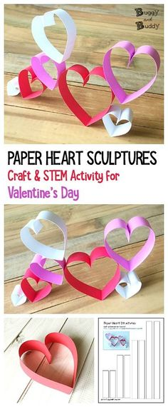 Valentine's Day STEM / STEAM Activity for Kids: Make paper hearts and use them to build all kinds of structures. Children will use their creativity to create various heart decorations using just paper strips. (Post includes free printable template.) ~ BuggyandBuddy.com #valentinesdaycraft #stem #heartcraft  via @https://www.pinterest.com/cmarashian/boards/