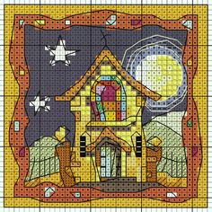 'Chapel in Moonlight' from Michael Powell's 'Mini Cross Stitch' book (paperback, pub. Search Press). There are twenty to make and they are all very quirky and appealing. I have made most of the pictures in this book for someone or other and they are a real pleasure to work on. My attempt at this design can be found at https://uk.pinterest.com/pin/504614333230834344/