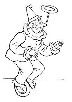 Un clown équilibriste à colorier.