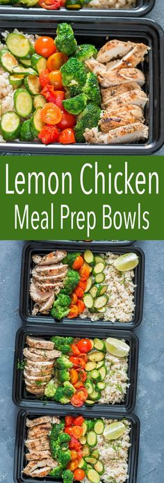 Delicious lemon chicken meal prep bowl, easily made and perfect for clean eating #mealprep #chicken #lemonchicken #cilantro #brownrice #healthylunch