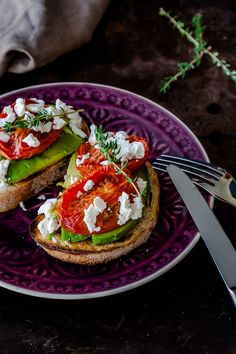 Slow Roasted Tomatoes with Avocado + Feta - Breakfast