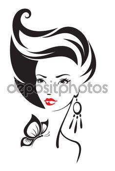 Черно-белая иллюстрация изящной женщины — стоковая иллюстрация #60535657