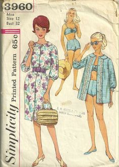 Simplicity 3960 Two-Piece Bathing Suit, Beach Shirt, and Dress