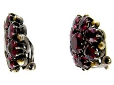 """Dorrie Nossiter Garnet Earrings 2cm x 2cm 0.8"""" x ⅘in Unmarked. Sold by the Antique Jewellery Company. Image 3 of 4."""