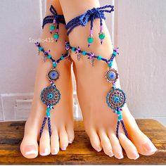 ummer Gypsy Hippie Bohemian crochet Barefoot Sandals foot jewelry - Blue
