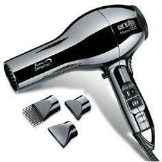 Ceramic Ionic hair dryer gotta love his shiny chrome finish + three different attachments.