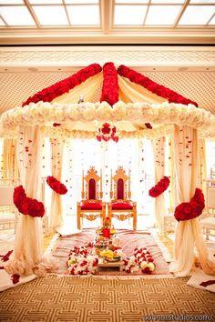Red & white chuppah