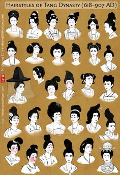 This is a chart showing different eyebrow trends in the Tang Dynasty. It's based on a chart in Chinese Clothing by Hua Mei and Gao Chunming you . Painted Eyebrow Trends in Tang Dynasty Traditional Hairstyle, Traditional Outfits, Traditional Chinese Clothing Female, Chinese Culture, Chinese Art, Chinese Model, Character Inspiration, Character Design, Coiffure Hair