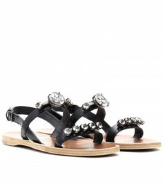 Miu Miu - CRYSTAL FACETED LEATHER SANDALS